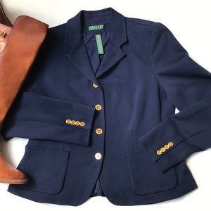Lauren Ralph Lauren Navy Gold Button Blazer 12P